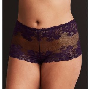 TORRID Fancy Lace and Mesh Cheeky Panty Purple